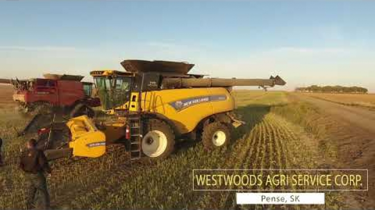 Demo of New Holland CX8.80 and CR8.90 combines 2017. South Saskatchewan, Canada.